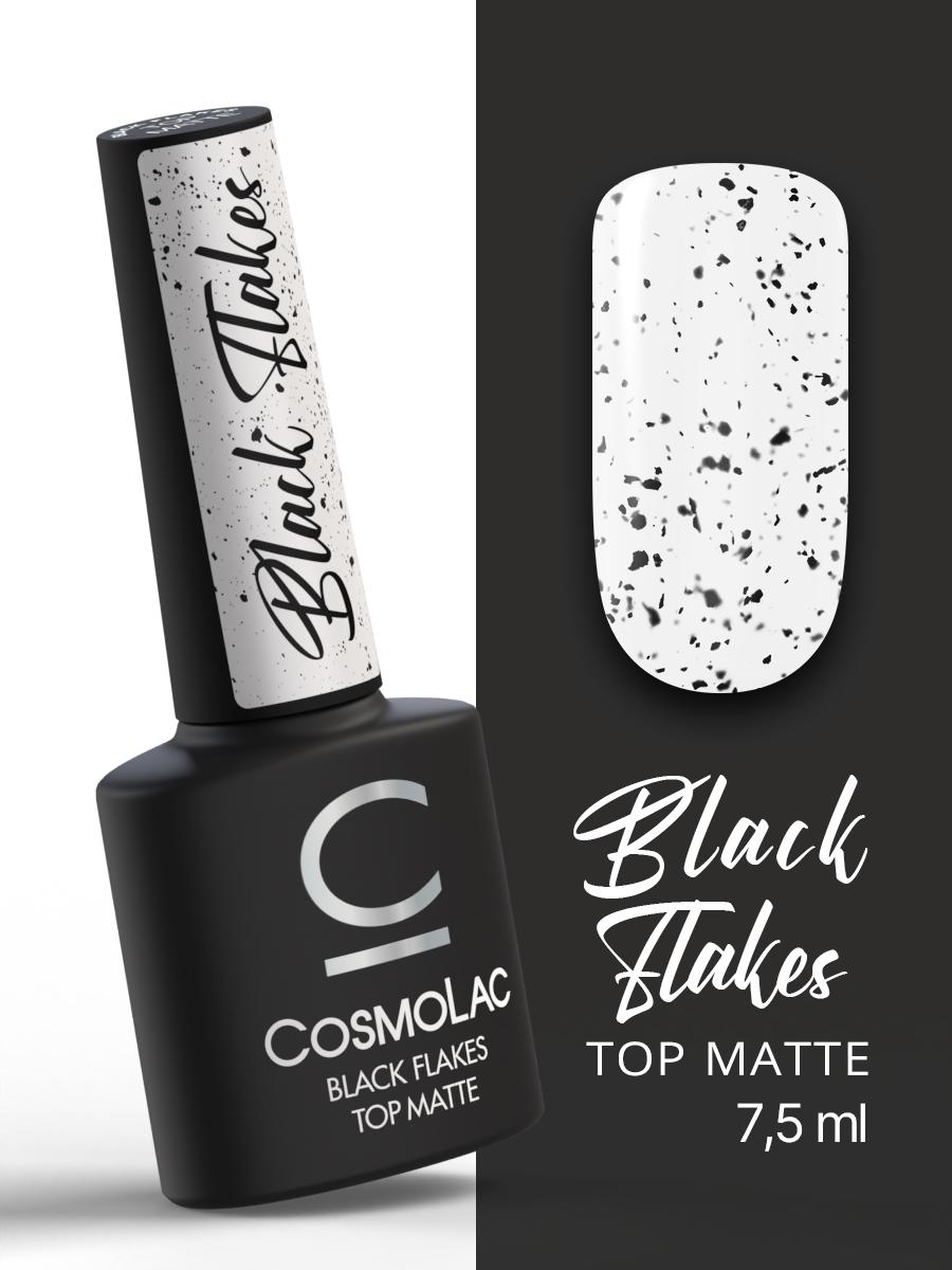 Топ матовый с черными хлопьями без липкого слоя Cosmolac Top Matte Black Flakes